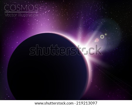 Planet as seen from space with sunrise - vector illustration - stock vector