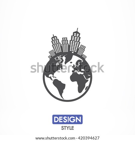 Planet city icon, planet city pictograph, planet city web icon, planet city icon vector, planet city icon eps, planet city icon illustration, planet city icon picture, planet city flat icon - stock vector