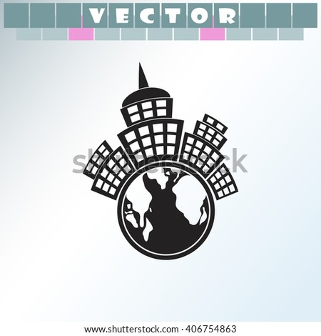 Planet city icon. Planet city vector. Simple icon isolated on light background. - stock vector