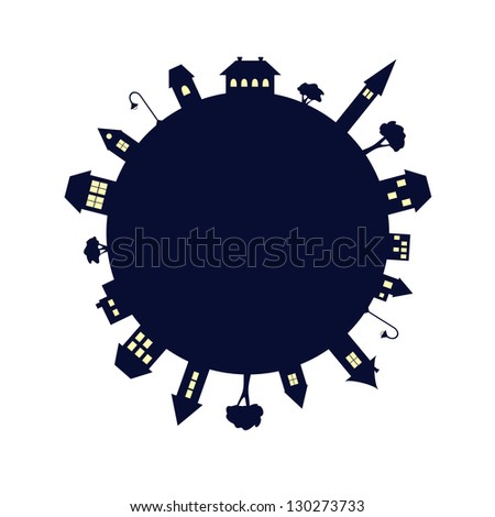 planet covered with houses and trees at night � vector illustration - stock vector