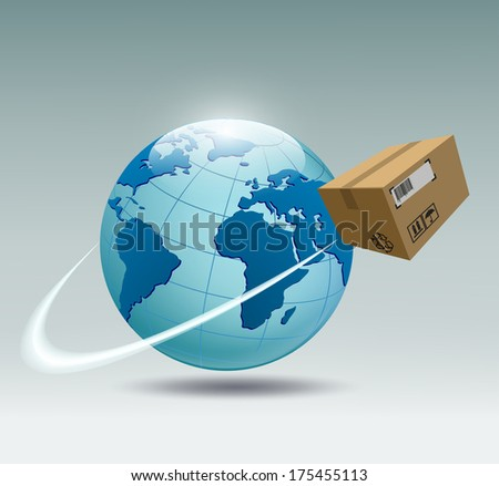 planet earth and a cardboard box that revolves around her - stock vector