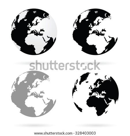 planet earth atlas set vector - stock vector