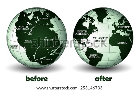 Planet earth before and after - stock vector