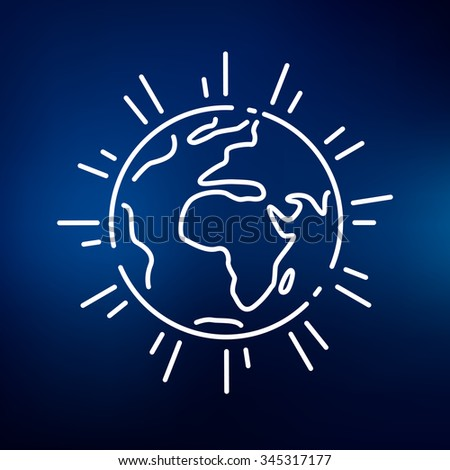 Planet earth icon. Planet earth sign. Planet earth symbol. Thin line icon on blue background. Vector illustration. - stock vector