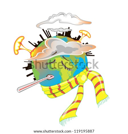 Planet Earth is suffers and sick. The planet is destroyed  because of the  toxic waste factories, explosions and destructive human activity - stock vector
