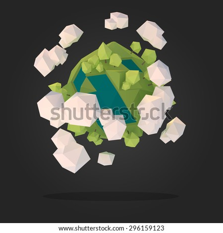 Planet Earth Low Poly Geometry Vector - stock vector