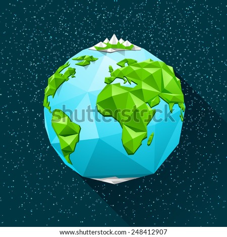 Planet Earth low poly. Vector polygonal illustration - stock vector