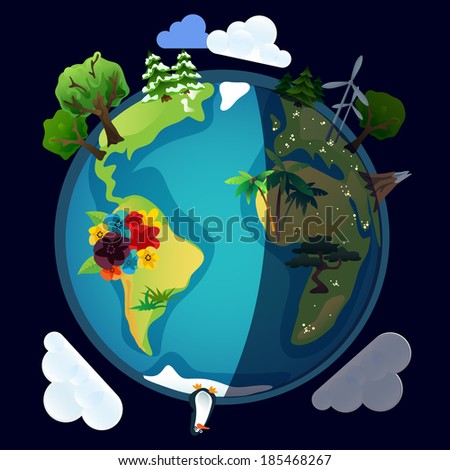 Planet earth or world eco model in vector night version - stock vector