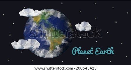 Planet Earth, space view, geometric polygonal triangle style.  Banner. Vector illustration  - stock vector