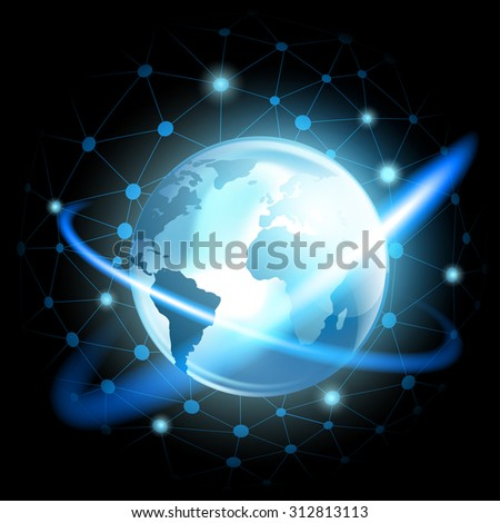 Planet Earth. Technology background. Stock vector image. - stock vector