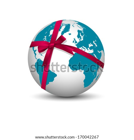 Planet Earth with bow red ribbon. Vector EPS10 - stock vector