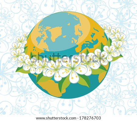 Planet earth with orbit of spring flowers.A wreath of flowers of cherry or Apple. Spring background of flowers ornament.Vector Illustration - stock vector