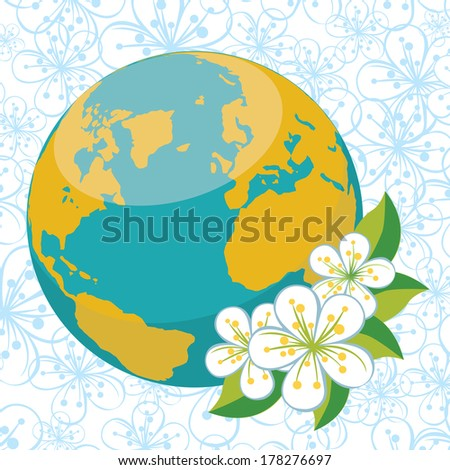 Planet earth with spring flowers.Spring background of flowers of cherry or Apple on flowers ornament background. Vector Illustration - stock vector