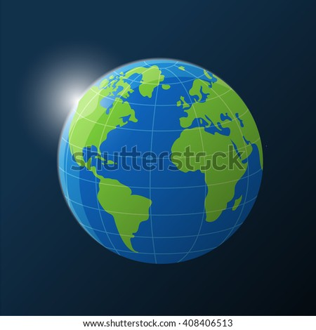 Planet earth with sun rising in the Space. Vector illustration. - stock vector