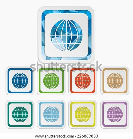 Planet icons. Earth symbols. Set colorful buttons. Vector illustration. It can be used for the web sites and mobiles. - stock vector