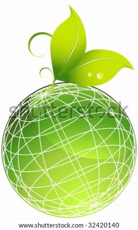 planet leaf - stock vector