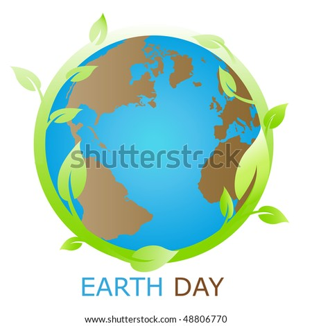 Planet symbol, Earth day - stock vector
