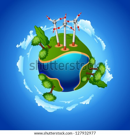 planet with wind mill turbines and city skyscrapers. ecology concept wind-driven generators on the green meadow - stock vector