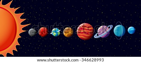 Planets in solar system illustration - stock vector