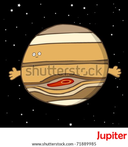 Planets in the Solar System Jupiter - stock vector