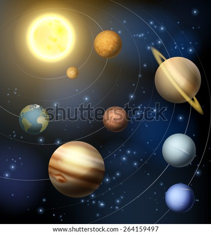 Planets of the solar system around the sun illustration  - stock vector