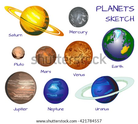 Planets of the solar system. VECTOR hand drawn set isolated on white background.  - stock vector