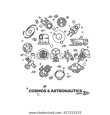 Planets, space and rocket vector icons. Comet and asteroid in space, travel flight space cosmic illustration - stock vector