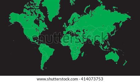 Planisphere - Vector world map green on black - alpha - background - stock vector