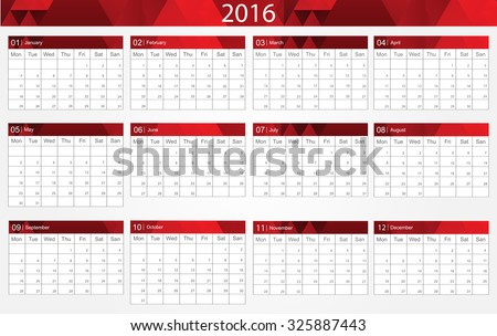 Planning calendar 2016.Abstract calendar for 2016.Vector illustration. - stock vector