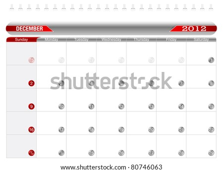 Planning Calendar -December 2012, Week starts on Sunday. - stock vector