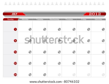 Planning Calendar -July 2012,  Week starts on Sunday. - stock vector