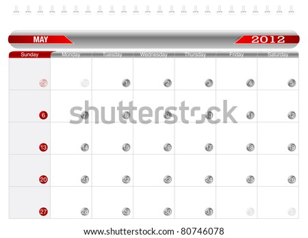 Planning Calendar -May 2012,  Week starts on Sunday. - stock vector