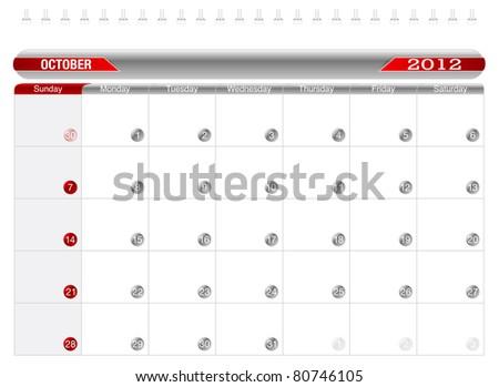 Planning Calendar -October 2012, Week starts on Sunday. - stock vector