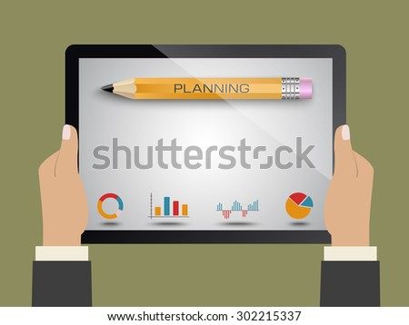 Planning launching business as a concept - stock vector