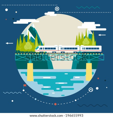 Planning Summer Vacation, Tourism and Journey Symbol Railroad Train Travel on Stylish Background Modern Flat Design Vector Illustration - stock vector
