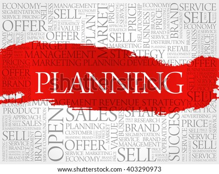 Planning word cloud, business concept background - stock vector