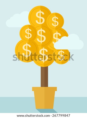 Plant growing coin with dollar signs. - stock vector