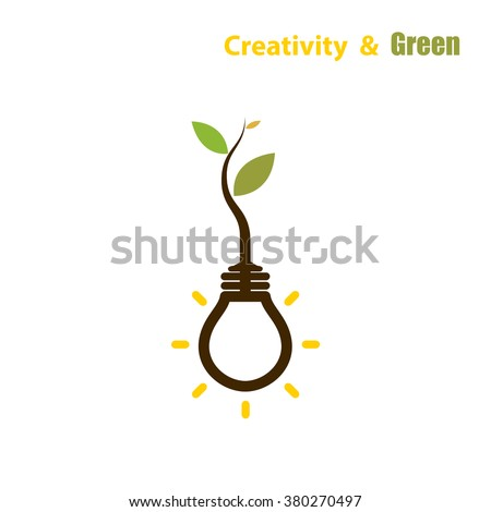 Plant growing inside the light bulb.Green eco energy concept.Tree of Knowledge concept. Education and business sign. Vector illustration - stock vector