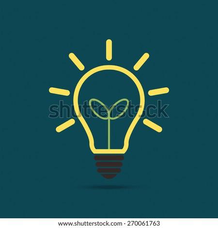 Plant growing inside the light bulb, Green eco energy concept - Vector - stock vector