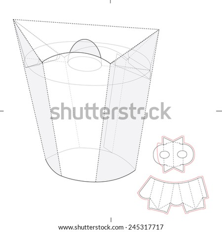 Plant Holder Box with Die Cut Template - stock vector