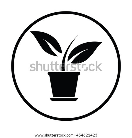 Plant in flower pot icon. Thin circle design. Vector illustration. - stock vector