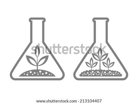 Plant in laboratory glass - stock vector