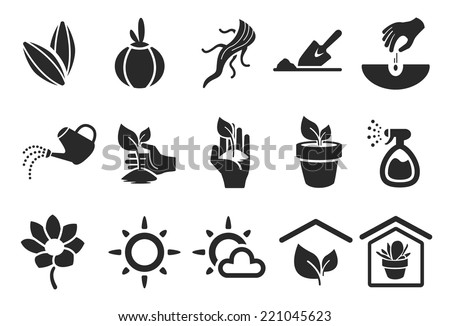 Planting Icons - Illustration - stock vector