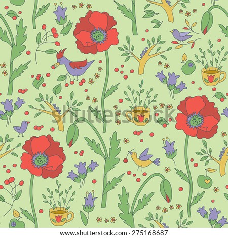 Plants And Birds Seamless Pattern - stock vector