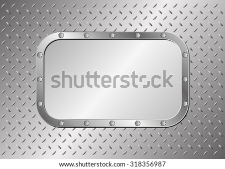 plaque on metal background - stock vector