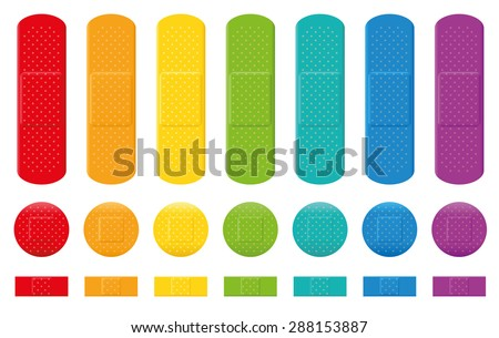 Plaster collection - seven different colors, three various sizes. Isolated vector illustration on white background. - stock vector