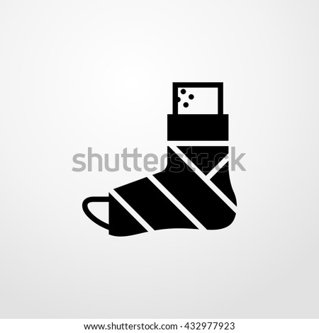plastered foot icon. plastered foot sign - stock vector