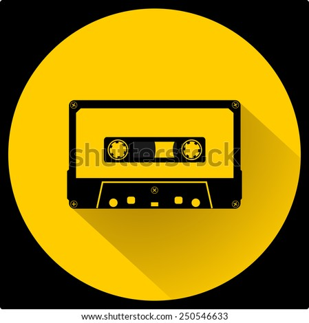 Plastic audio compact cassette tape - web icon. black color music tape. old technology concept, retro style, flat and shadow theme design, vector art image illustration, isolated on yellow background - stock vector