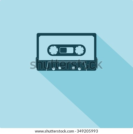 Plastic audio compact cassette tape - web icon. black color music tape. old technology concept, retro style, flat and shadow theme design, vector art image illustration, isolated on blue background - stock vector