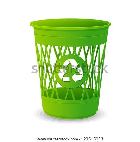 Plastic basket set, trash bins on white - stock vector